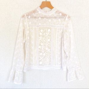 Willow & Clay Sheer embroidered top